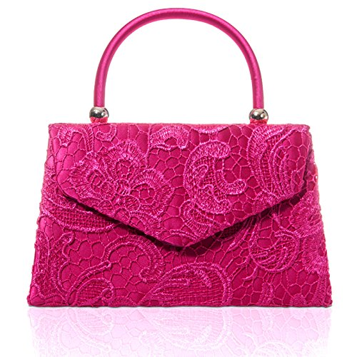 Ladies Bridal Floral Designer Uk Clutch Xardi Lace Handled Evening Handbag Fuchsia London Satin Women 4xqxwECUP