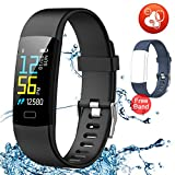Juboury Fitness Tracker HR, Activity Tracker Watch Heart Rate Monitor, Waterproof Smart Bracelet Step Counter, Calorie Counter, Pedometer Watch Kids Women Men, Android & iOS (Blue-Black)