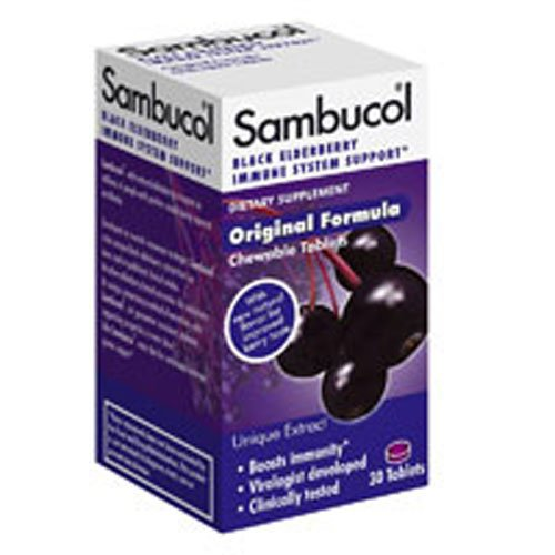 (Sambucol Black Elderberry, Original Formula Chewable Tablets, 30 Count (Pack of 2))