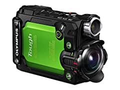 Presenting an action cam that's tough enough to keep up with your adventures. The pocket-sized TG-Tracker records Ultra HD 4K video using advanced Olympus optics. Take it places you wouldn't dare take most cameras. Mountaintops. Winter slopes...