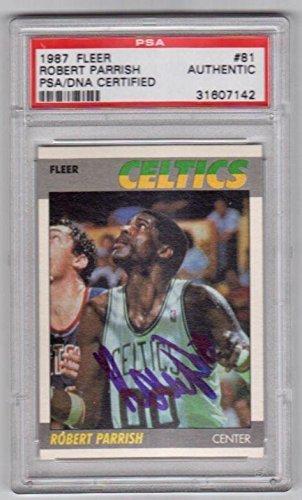 ROBERT PARRISH (Celtics) signed 1987 Fleer card - PSA/DNA Certified - Autographed Basketball Cards ()
