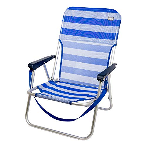 AKTIVE 53950 Silla Plegable Fija Aluminio Beach, 40 x 56 x 70 cm, Azul Oscuro