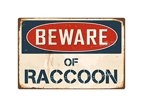 "StickerPirate Beware of Raccoon 8"" x 12"" Vintage Aluminum, used for sale  Delivered anywhere in USA"