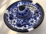 Talavera Ceramic Sombrero Ashtray 4 1/2'' Modern Art Design Authentic Puebla Mexico Pottery Hand Painted Design Vivid Colorful Art Decor Signed [Blue W/White Flower]