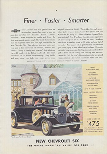 Finer - faster - Smarter - Chevrolet de Luxe Five-Window Coupe ad 1932 Am