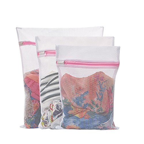 Honbay Set of 3 Mesh Laundry Bags for Lingerie Socks Pantyhose Baby Clothes and Stuffed Toys Used in Both Washing Machine and Dryer Highest Quality Coarse Mesh Zippered Bags (1 (Coarse Mesh Bag)