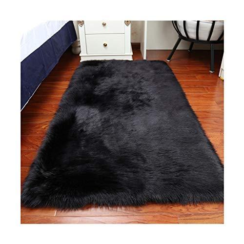 Elhouse Home Decor Rectangle Rugs Faux Fur Sheepskin Area Rug Shaggy Carpet Fluffy Rug for Baby Bedroom,2ftx3ft,Black