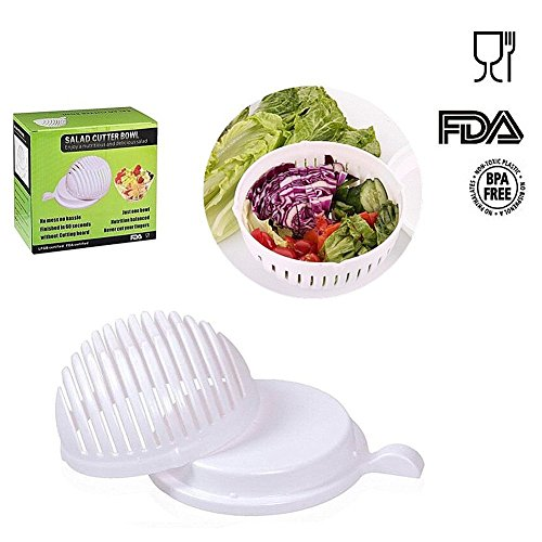 Salad Cutter Bowl, Meideli Salad Chopper, Vegetable Cutter Bowl - Make Your Salad in 60 Seconds(White)