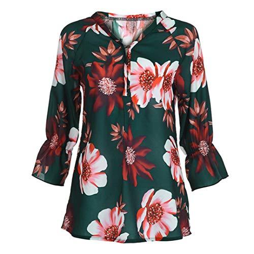 Canotte Moda Elegante Forti Blouse Casuale Verde Floreale Donna Camicetta Maglietta Camicia Pullover Taglie Stampa wgYxBqaw