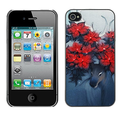 TaiTech / Case Cover Housse Coque étui - Deer Art Horns Forest Nature Flowers Red - Apple iPhone 4 / 4S