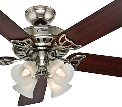 Hunter Fan 52 inch Brushed Nickel Finish Ceiling Fan with Swirled Marble Glass Light Kit Renewed