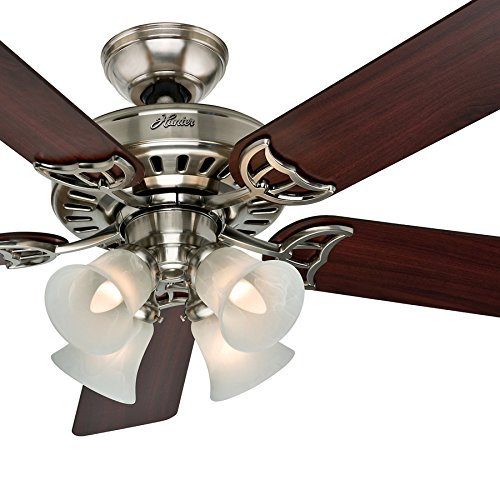 Hunter Fan 52 inch Brushed Nickel Finish Ceiling Fan with Swirled Marble Glass Light Kit (Renewed) (Large Brushed Nickel Finish)