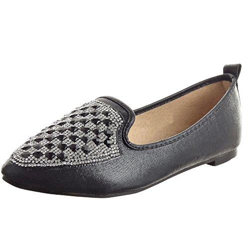 Sopily - Scarpe da Moda ballerina alla caviglia donna Gioielli strass Tacco a blocco 1 CM - Nero
