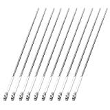 Cyberone 10Pcs Stainless Steel Skewers Set BBQ Skewers Flat Barbecue Sticks for Camping Picnic Home Party 45cm 17.7inch