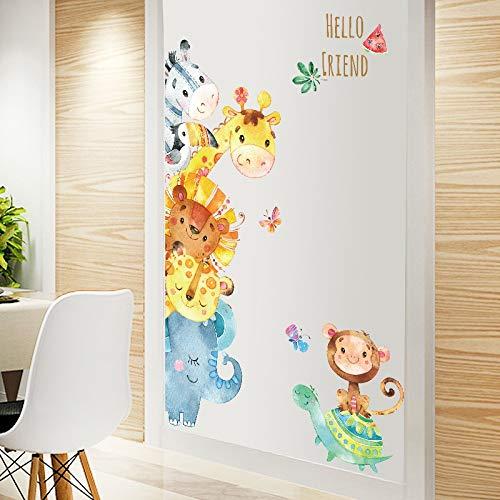 Cartoon Door - Watercolor Small Animals Cartoon Door Stickers Rooms Bedroom Wall Stickers Home Decor PVC Sticker Mural