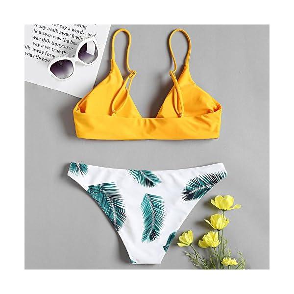 ZAFUL Set Bikini Costume da Bagno da Donna Imbottito Push-up con Stampa a Foglia 3 spesavip