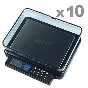 """GHP 10-Pcs Black 3.98""""L x 4.48""""W x 1.0""""D Double Capacity Precision Scale"""