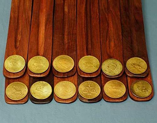 - Song of India Wooden Incense Burners - Zodiac Symbols Set/12
