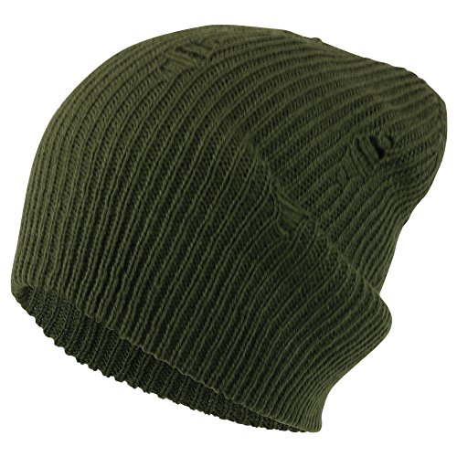 Armycrew Vintage Frayed Pattern Knit Deep Slouchy Beanie - OLIVE