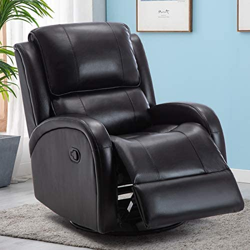 IOMOR Swivel Rocking Glider Recliner Chair Manual Gaming Faux Leather Chair,Single Modern Sofa Home Theater Seating