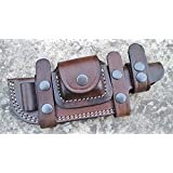 Ottoza Custom Handmade Dark Brown Right Hand Leather Knife Sheath for Tracker Knife - Bushcraft Knife - Hunting Knife - Survival Knife - Skinning Knife Horizontal Scout/Cow - Buffalo Leather No:37
