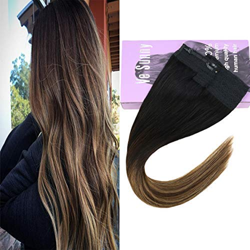 VeSunny 16inch Hair Halo Extensions Real Human Hair 80g/set Balayage Natural Black to Brown with Caramel Blonde Silky Straight Invisible Halo Remy Hair Extensions 11inch Width 80G/Set
