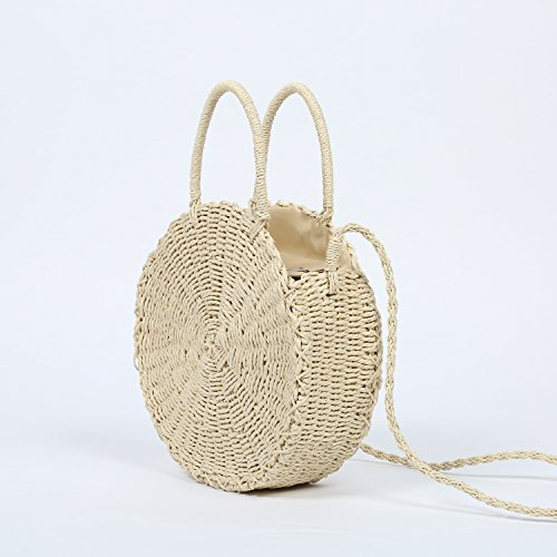 Large Straw Beach Bag with Inner Pouch by Hera Amour | Crossbody Summer Beach Tote with Top Handles (Large, Beige)
