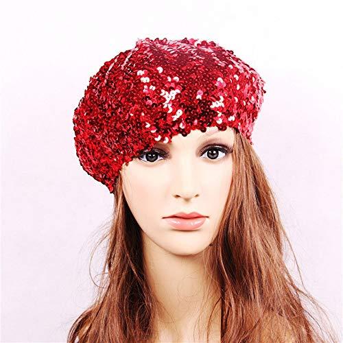 GOP Store Women Sequins Hat Shiny Costume Jazz Glitter Dance Beret Round Cap Ladies Fashion Accessories Hats