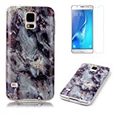 For Samsung Galaxy S5 / S5 Neo Marble Case with Screen Protector ,OYIME Creative Glossy Gray & Black Marble Pattern Design Protective Bumper Soft Silicone Slim Thin Rubber Luxury Shockproof Cover