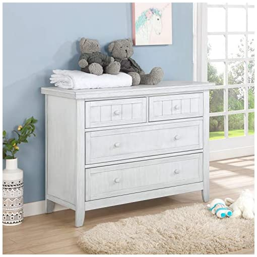 Bedroom Dream On Me Maple Kids Bedroom Double Dresser, Four Drawers, Farmhouse Modern, Weathered White, 100 lb , 46x18x35 Inch… farmhouse dressers