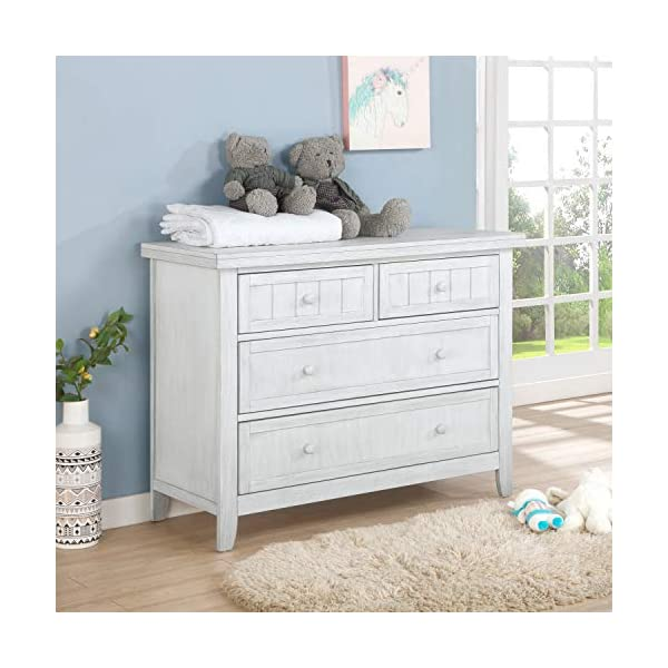 Dream On Me Maple Double Dresser I Kids Bedroom Dresser I Four Drawers Dresser I Farmhouse Modern, Weathered White (598…
