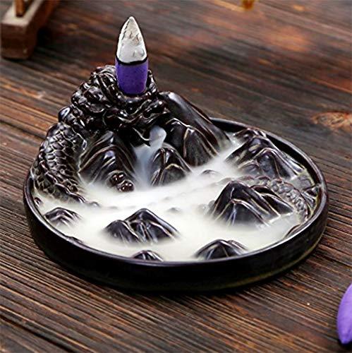 ShuangChuang Ceramic Censer Dragon Smoke Backflow Incense Burner Holder + 10 Cones