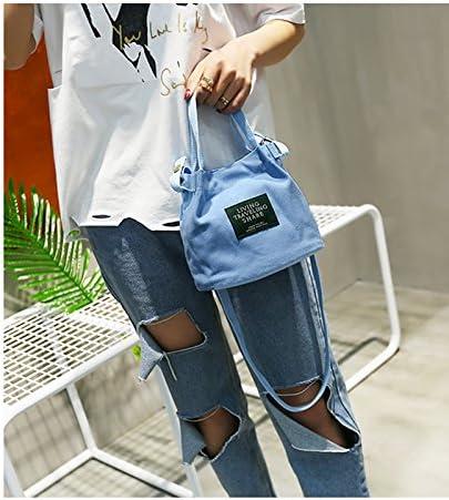 Daliuing Cotton Shoulder Bag Fashion Handbag Solid Color Casual Handbags Stitching Handbag Canvas Totes Bag for School Groceries Books