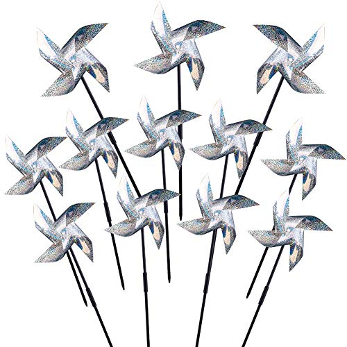 WXJ13 Repellent Pinwheels Sparkly Silver Mylar Pinwheel Holographic Spinners Whirl for Scaring Birds and Pests, Set of 12]()