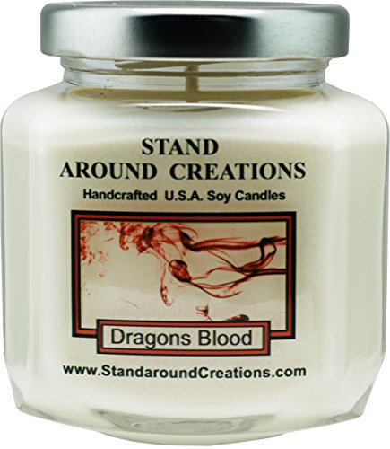 Premium 100% Soy Wax Candle - 6 - oz. Hex Jar- Dragon's Blood - A potent earthy scent w/ cedarwood, orange and patchouli essential oils w/ sweet and spicy notes. Blood Orange Tart