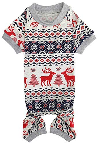 Lanyar Xmas Grey Red Clothes Cotton Pet Dog Pajamas Jumpshit for Pets Dog Pajamas 23
