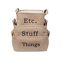 Collapsible Convenient Eco-friendly Jute Linen Square Storage Bin Gift Baskets with Leather Handle for Bookshelf, Cabinet, Kids Room, Playroom Closet, Toys, Laundry (set of 3)