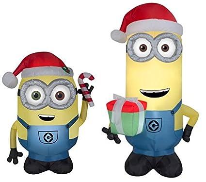 bundle bob and kevin minion christmas holiday yard inflatables - Minion Christmas
