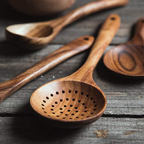 Wooden Skimmer Slotted Spoon with Long Handle for Home Kitchen Utensils Adoolla Wood Slotted Dipping Colander Spoon