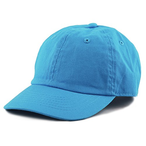 The Hat Depot Kids Washed Low Profile Cotton and Denim Baseball Cap (Turquoise)