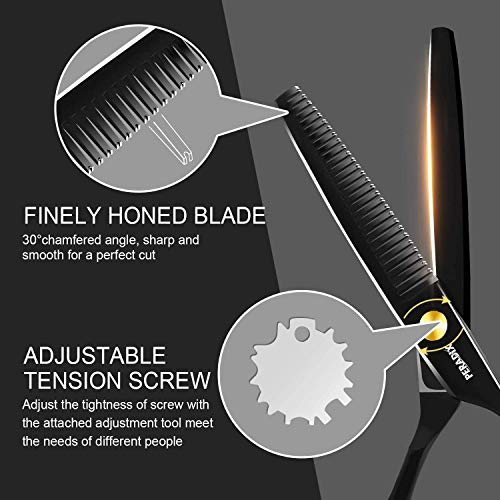 Peradix Hairdressing Scissors 9 in 1 Set, Professional Hair Cutting Scissors with Thinning Scissors, Comb, Shawl, Hair Clips for Barbers, Salon, or Home Use-4Cr Stainless Steel Material