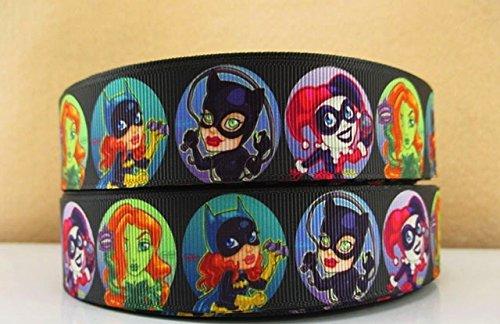 "5 yards 1"" Superhero Girls Catwoman Batgirl Poison Ivy Harley Quinn Grosgrain Ribbon"