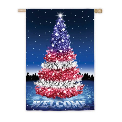 Red White and Blue Christmas Tree Welcome House Flag