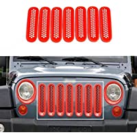 Nicebee 7pcs Red Headlight Trim Front Honeycomb Punch Round Grille Grill Mesh Insert Cover Trim For 2007-2016 Jeep Wrangler JK