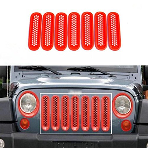 - Nicebee 7pcs/Set Red Front Honeycomb Punch Round Grille Grill Mesh Insert Cover Trim for 2007-2017 Jeep Wrangler JK