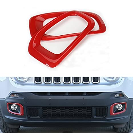 Chrome ABS Decor Outside Front Fog Light Cover Trim For Jeep Renegade 2015-2016