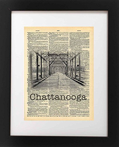 Walnut Street Bridge Chattanooga Tennessee Vintage Dictionary Print 8x10 inch Home Vintage Art Abstract Prints Wall Art for Home Decor Wall Decorations For Living Room Bedroom Office Ready-to-Frame (Map Chattanooga Tennessee)