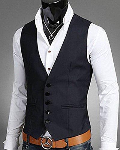 Blu Smanicato Leisure Matrimonio Uomo Corpetto Elegante Fit Slim Gilet Navy Casual Panciotto w7wqvR