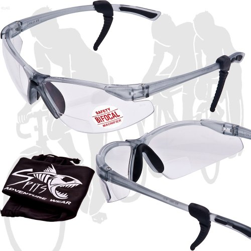 SPITS - Thresher Running -Cycling Bifocal Sunglasses - ANSI Z87.1+ Safety Compliant (1.50 Clear Bifocal) by SPITS Running/Cycling Eyewear