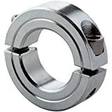 """Climax Metal Products 2C-187-Z Two-Piece Clamping Shaft Collar, Mild Steel, Zinc Plating, 1-7/8"""" Bore, 2-7/8"""" OD, 11/16"""" Width, 5/16-24 x 1"""" Clamp Screws"""